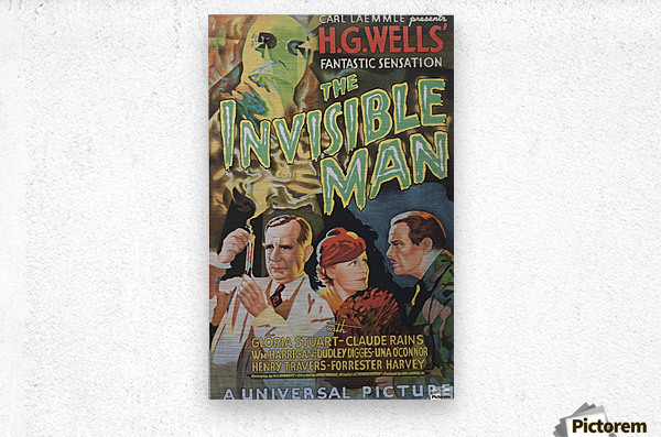 The Invisible Man Universal Picture Carl Laemmle vintage movie poster  Impression metal