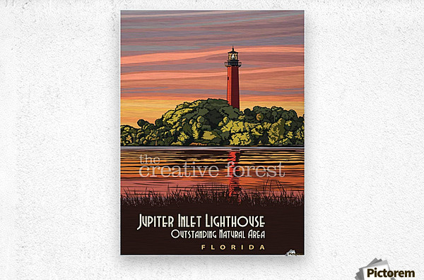 Jupiter Inlet Lighthouse, Vintage Florida Travel Reproduction  Metal print