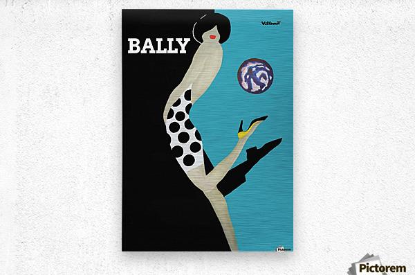 Vintage Bally Poster Giclee Print Aqua Blue  Metal print