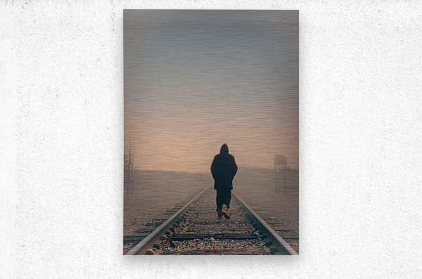 Back Walking Away  Metal print