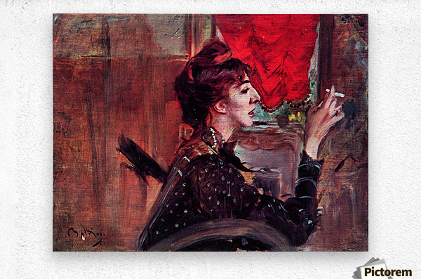 The red curtain by Giovanni Boldini  Metal print