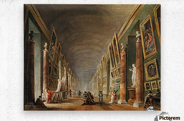 Painters in a visit at Louvre. 1790  Metal print