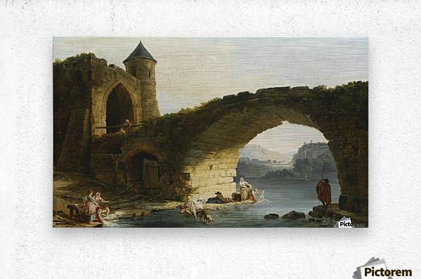 A Capriccio River Landscape With Washerwomen Near a Ruined Bridge  Metal print