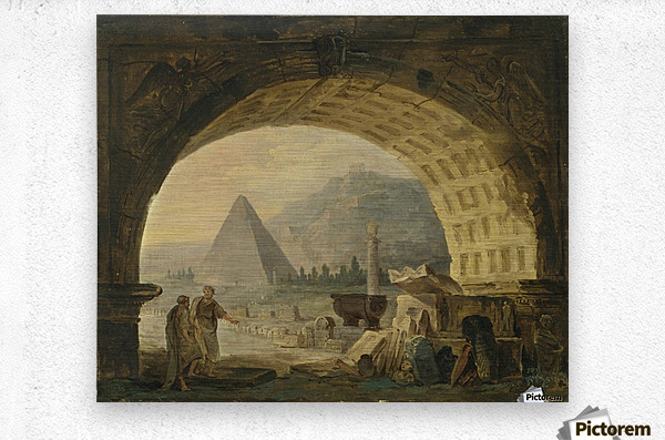 View of antiquities under an arch  Metal print