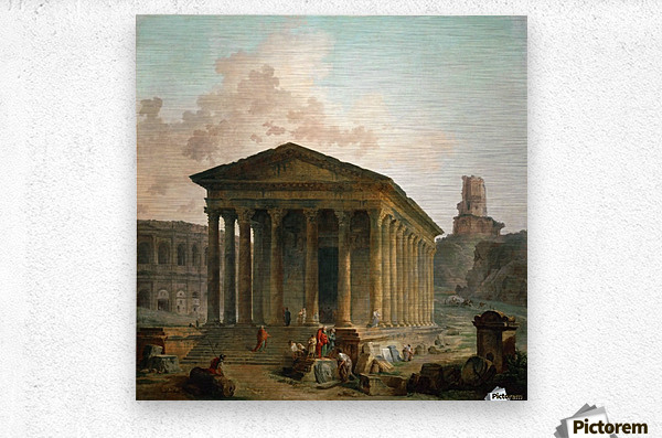 Antic ruins with figures  Metal print