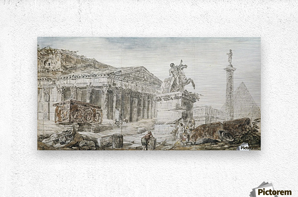An architectural capriccio with figures among Roman ruins  Metal print