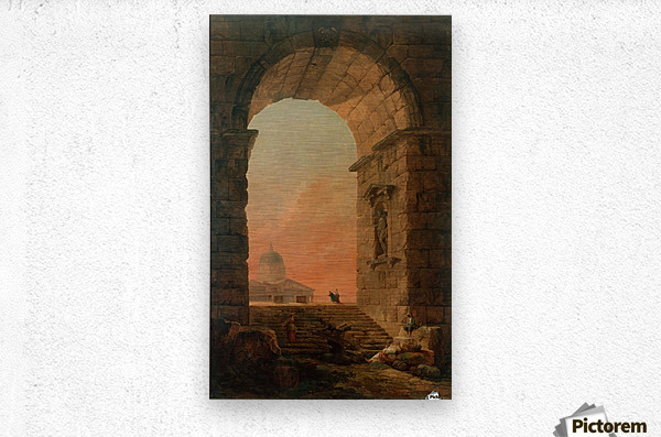 Landscape with an Arch and The Dome of Saint Peter Church in Rome  Metal print