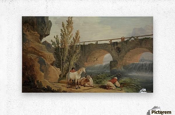Bridge over a Cascade  Metal print