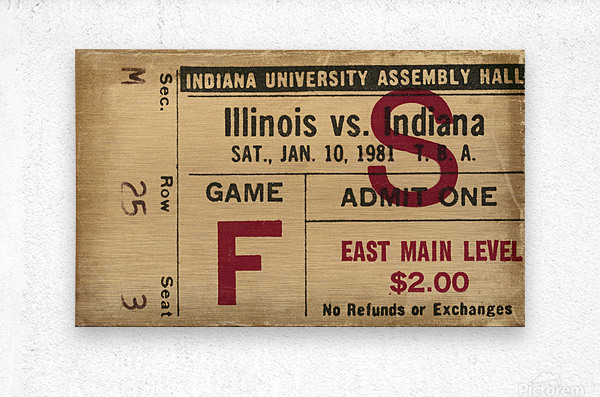 1981 Indiana vs. Illinois Basketball Ticket Art  Metal print