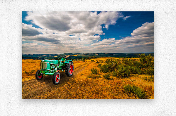 My Green Tractor  Metal print