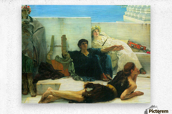 A reading of Homer, detail -1- by Alma-Tadema  Metal print