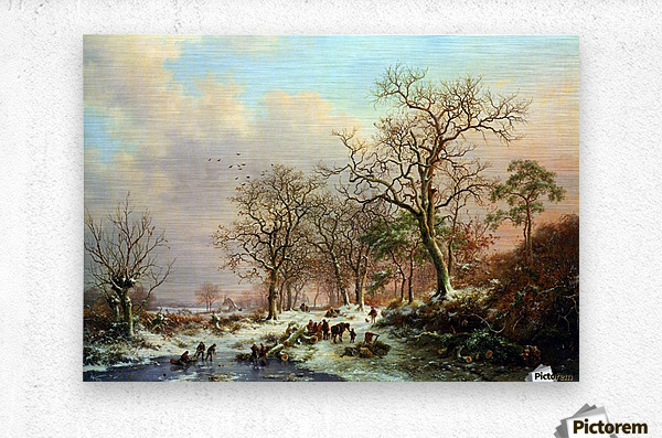Winter landscape with figures near lake  Metal print