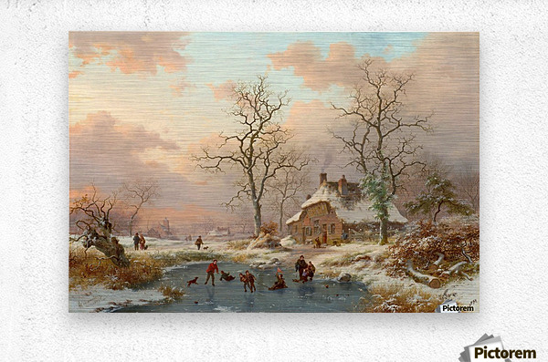 Winter landscape with figures on the frozen lake  Metal print