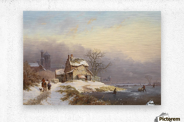 Winter landscape with figures near lake and church in background  Metal print
