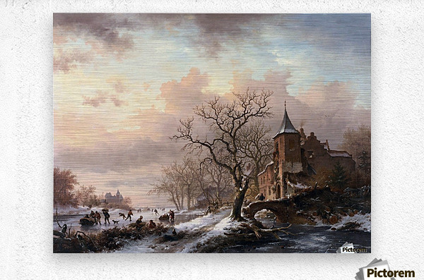 Castle in a Winter Landscape and Skaters on a Fozen River  Metal print