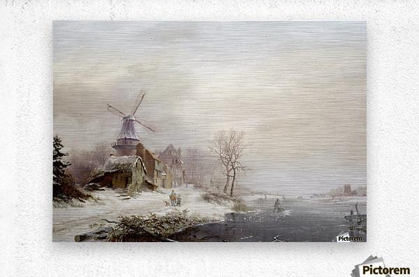 Winter landschap met gehucht, windmolen en figuren  Metal print