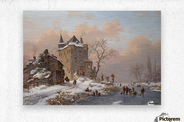 Skaters near a castle on a wintry day  Metal print