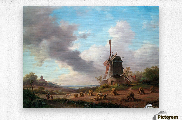Summer Landscape with Harvesting Farmers  Metal print