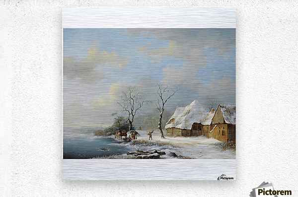 Wood Gatherers in a Snowy Landscape  Metal print