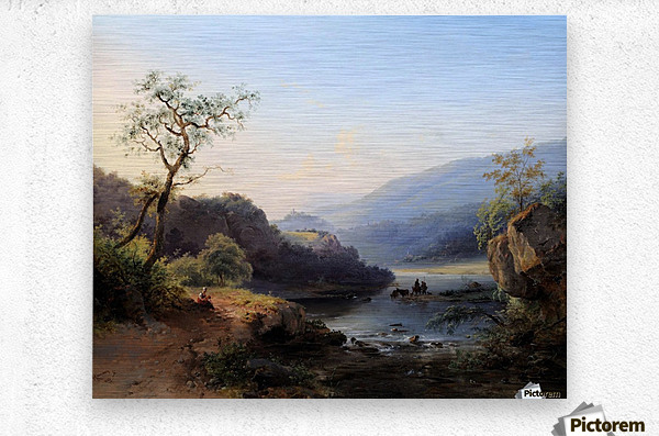 Landscape with lake and figures  Metal print
