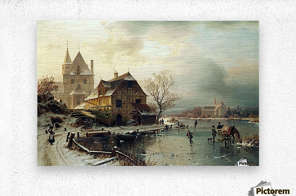 Dutch winter landscape with skaters  Metal print