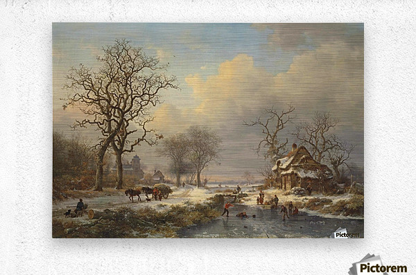 Winter landscape with children playing on the ice  Metal print