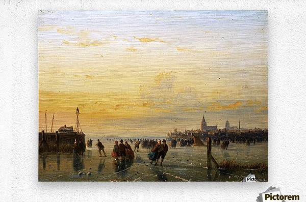 Winter Landscape with Skaters on a Frozen River  Metal print