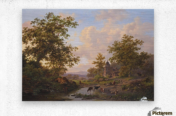 A sunlit river landscape with shepherds resting near a stream  Metal print