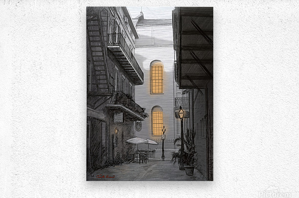 Light in the alley a French quarter scene  Metal print