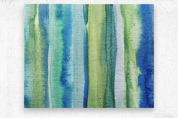 Ocean And Sea Beach Coastal Art Organic Watercolor Abstract Lines I  Metal print