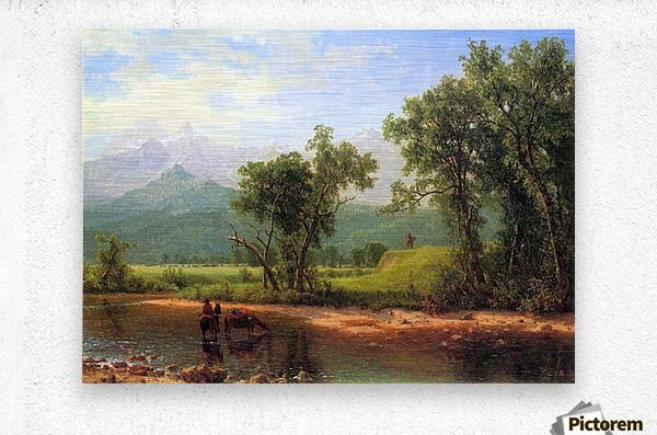 Wind River Mountains, landscape in Wyoming by Bierstadt  Metal print
