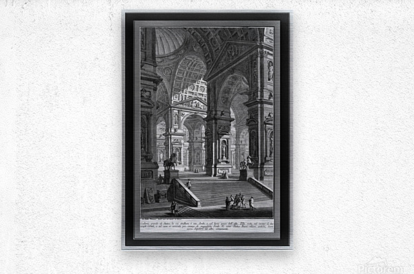Large Sculpture Gallery Built On Arches by Giovanni Battista Piranesi Classical Fine Art Xzendor7 Old Masters Reproductions  Metal print