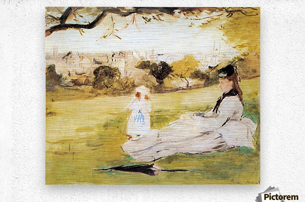 Woman and child sitting in a field by Morisot  Metal print