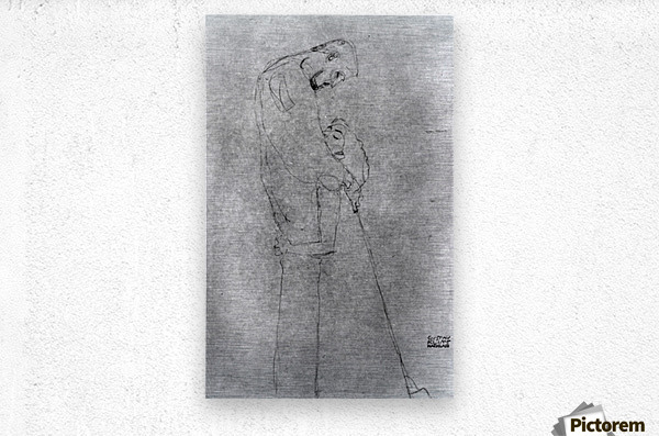 Woman and man standing in profile by Klimt  Metal print