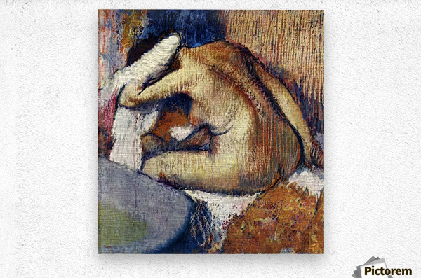 Woman drying hair by Degas  Metal print