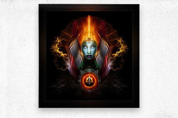 Riddian Queen Dynasty Of Power On Black Fractal Art Fantasy Portrait  Metal print