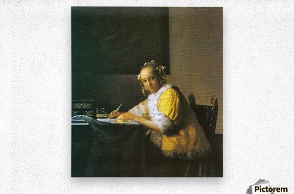 Woman in yellow by Vermeer  Metal print