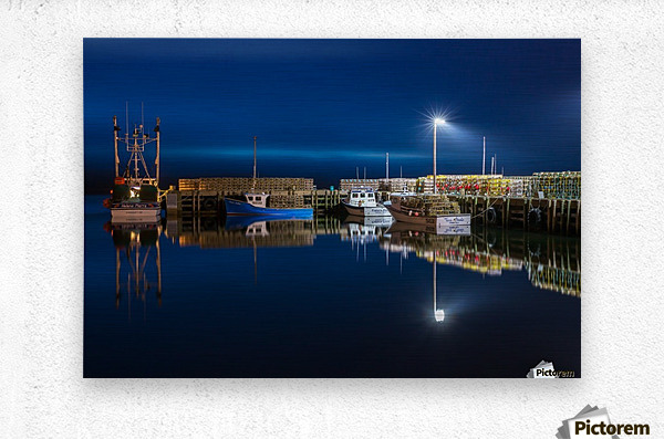 Night Time at the Wharf  Metal print