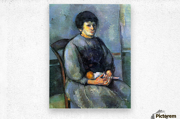 Woman with Doll by Cezanne  Metal print