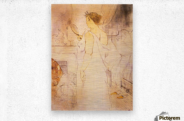 Woman with mirror by Toulouse-Lautrec  Metal print