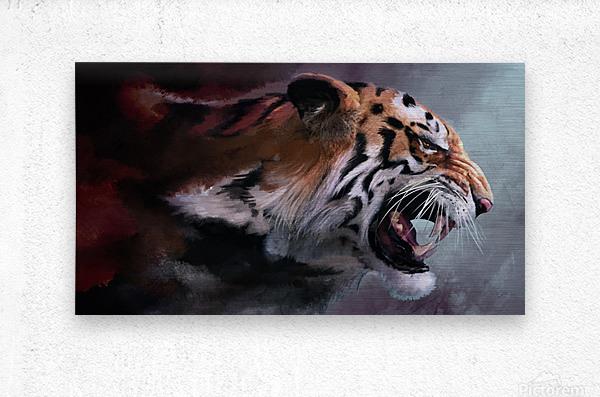 Lunging Tiger  Metal print