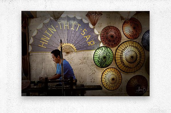 Umbrella maker  Metal print