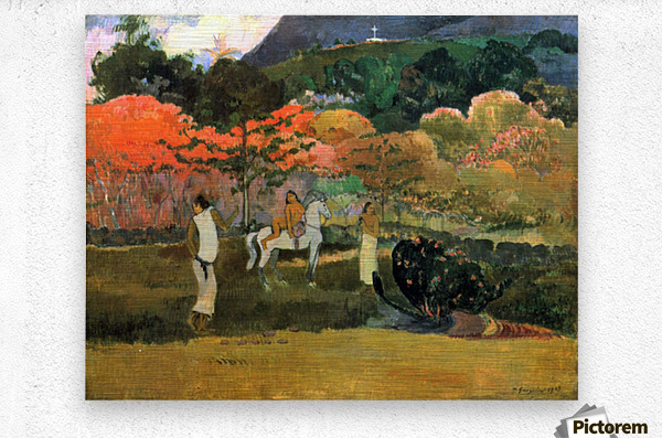 Women and Mold by Gauguin  Metal print