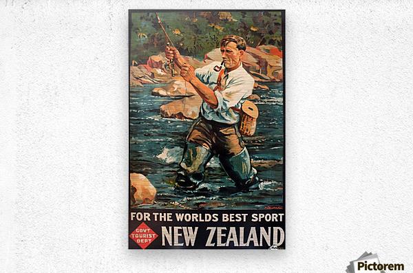 New Zealand Original Vintage Travel Poster  Metal print