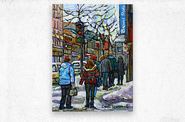 DOWNTOWN MONTREAL WINTER SCENE SHOPPERS ON ST. CATHERINE STREET  Metal print