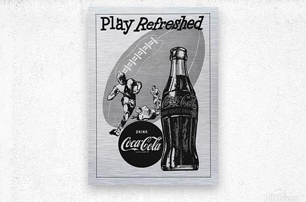 1952 Vintage Coke Football Ad Poster  Metal print
