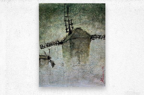 Windmills in the fog  Metal print