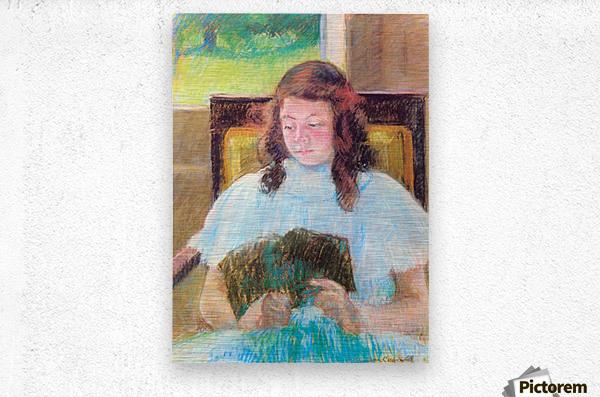 Young girl reading by Cassatt  Metal print