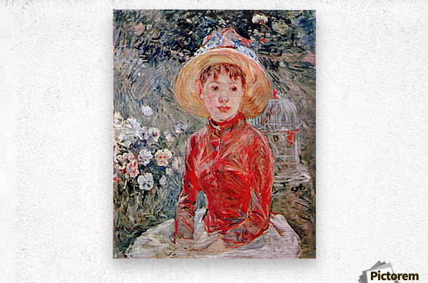 Young girl with cage by Morisot  Metal print