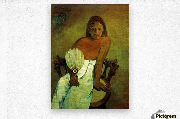 Young Girl with Fan by Gauguin  Metal print